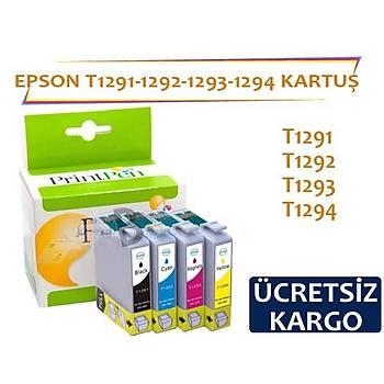 Prýntpen Epson T1291 T1292 T1293 T1294 Muadil Kartuþ Seti