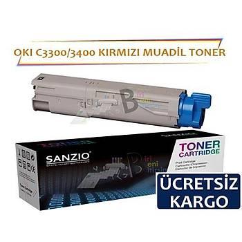 Oki C3300 C3400 C3450 C3600 Muadil Toner Kýrmýzý