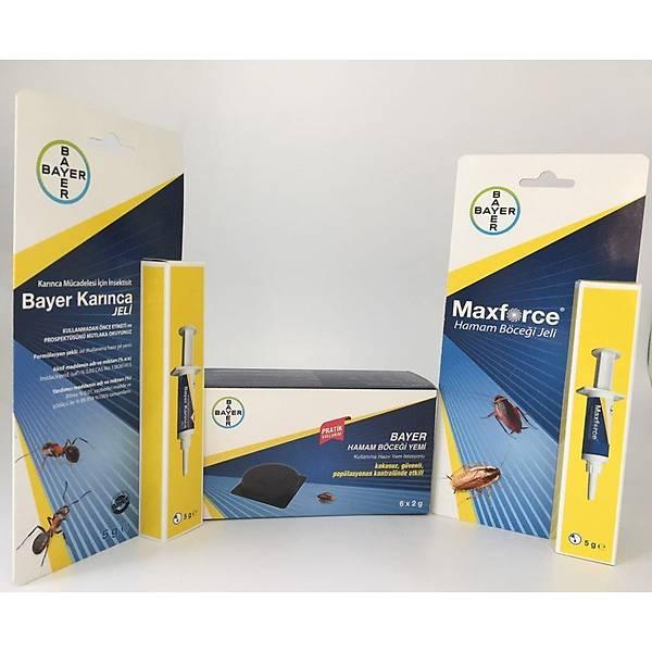 Bayer Böcek Yemi Tablet + Bayer Maxforce Hamam Böceði Jeli 5 G +Bayer Karýnca Jeli 5 G
