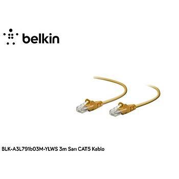 Belkin BLK-A3L791B03M-YLWS 3M Yeþil Cat5 Kablo