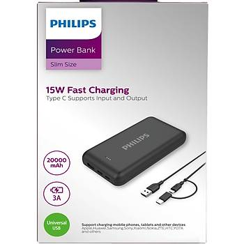 Philips Dlp1520ab-51 20.000mah 3a Type-c-Micro Giriþli Powerbank