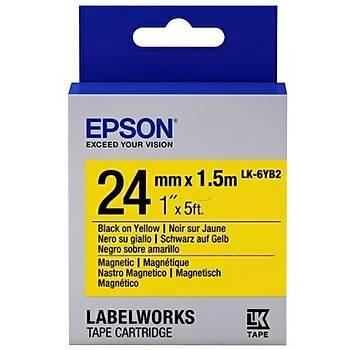 Epson LK-6YB2 Mýknatýslý Siyah Üzeri Sarý 24MM 1,5Metre Etiket