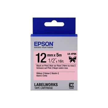 Epson LK-4PBK Siyan Üzeri Pembe 12MM 5Metre Etiket