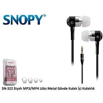 Snopy SN-322 Kulak Ýçi Kulaklýk Siyah Metal Gövde Kulaklýk