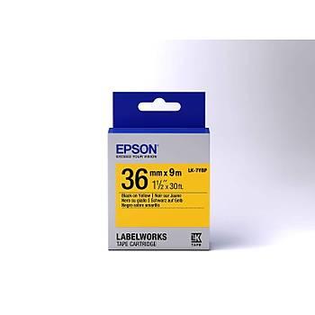 Epson LK-7YBP Pastel Siyah Üzeri Sarý 36MM 9Metre Etiket