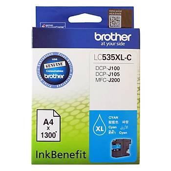 Brother LC535XLC Cyan Mavi 1.300 Sayfa Kartuþ DCP-J105 MFC-J200