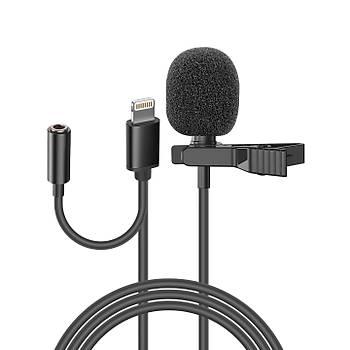 Snopy SN-MTK35 Siyah Lightning Tik-Tok Akýllý Telefon Kulaklýk Çýkýþlý Yaka Mikrofonu
