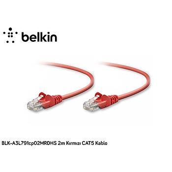 Belkin BLK-A3L791CP02MRDHS 2M Kýrmýzý Cat5 Kablo
