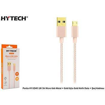 Hytech Portta HY-X240 1M 3A Micro Usb Kýlýflý Gold Data + Þarj Kablosu