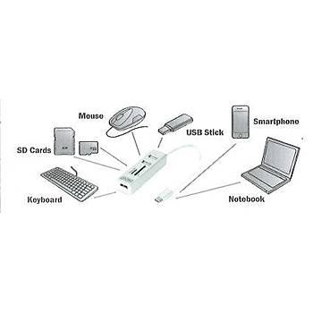 Digitus USB 2.0 Tip C 3 Port Hub, Kart Okuyucu,3x USB 2.0.1xSD,1xMicroSD kart yuvasý, alüminyum