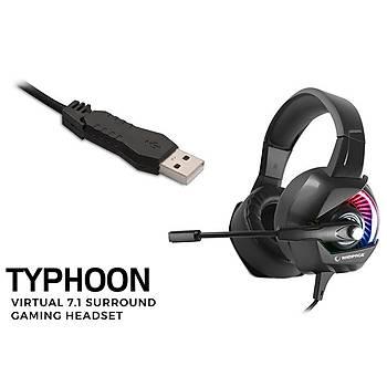 Rampage RM-K66 TYPHOON Siyah USB 7,1 Version RGB Ledli Gaming Oyuncu Mikrofonlu Kulaklýk