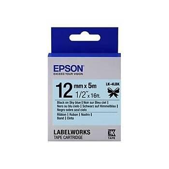 Epson LK-4LBK Siyah Üzeri Gökyüzü Mavi 12MM 5Metre Etiket
