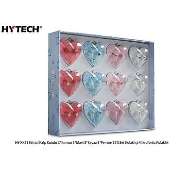 Hytech HY-XK21 Kristal Kalp Kutulu 3-Kýrmýzý 3-Mavi 3-Beyaz 3-Pembe 12'li Set Kulak Ýçi Mikrofonlu