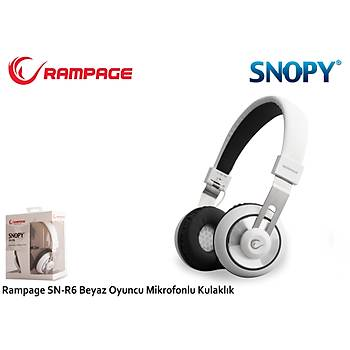 Snopy SN-R6 Beyaz Gaming Tek Jacklý Mikrofonlu Kulaklýk