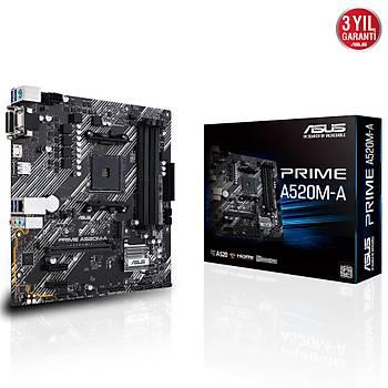 Asus Prime A520M-A AMD AM4 128GB DDR4 4800Mhz M2 Dvi-Vga-Hdmi mATX Anakart