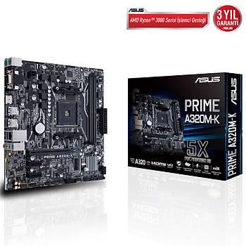 Asus Prime A320M-K AMD AM4 32GB DDR4 3200Mhz M2 Vga-Hdmi mATX Anakart