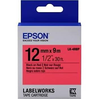 Epson LK-4RBP Pastel Siyah Üzeri Kýrmýzý 12MM 9Metre Etiket