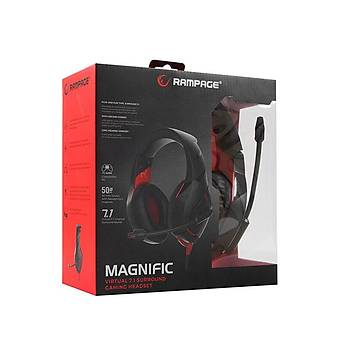 Rampage RM-K7 Magnýfýc Siyah Kýrmýzý 7.1 Surround Sound System Usb Mikrofonlu Oyuncu Kulaklýð