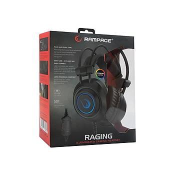 Rampage RM-K19 RAGING Siyah 3,5mm 7 Renk Ledli Gaming Oyuncu Mikrofonlu Kulaklýk