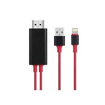 Hytech HY-XO52 Kýrmýzý-Siyah Lightning to HDMI + USB 2m Mobil Telefon Uyumlu Kablo