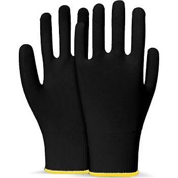 Beybi Polyester Örgülü Siyah 9 Beden Kasiyer Eldiven 10lu Paket