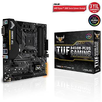 Asus Tuf B450M-Plus Gaming AMD B450 Soket AM4 DDR4 3466(OC)MHz mATX Gaming Anakart