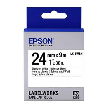 Epson LK-6WBN Standard Siyah Üzeri Beyaz 24MM 9Metre Etiket