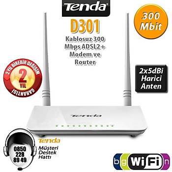 Tenda D301v2 300 Mbps 4 Port ADSL2+ Kablosuz Modem 2 Anten
