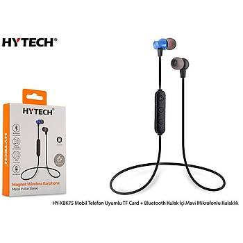 Hytech HY-XBK75 Mobil Telefon Uyumlu TF Card + Bluetooth Kulalk Ýçi Mavi Mikrofonlu Kulaklýk
