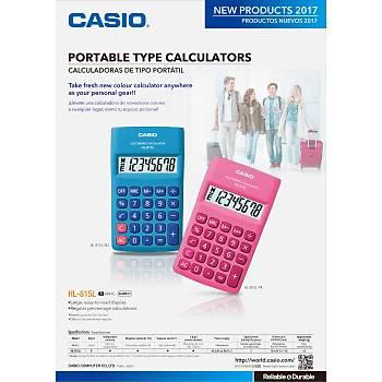 Casio HL-815L-PK 8 Hane Pembe Cep Tipi Hesap Makinesi