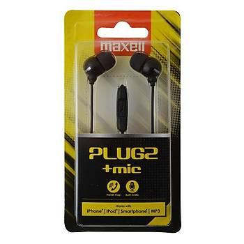 Maxell Plugz+ Siyah Mikrofonlu Kulakiçi Kulaklýk Tek Jaklý