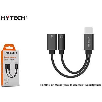 Hytech HY-XO40 Gri Metal TypeC to 3.5 jack+TypeC Çevirici