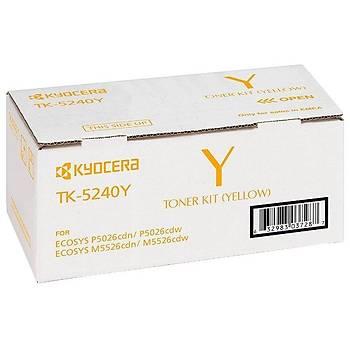 Kyocera TK-5240Y Yellow Sarý Orjinal Fotokopi Toneri Ecosys M5526cdn-5526cdw P5026cdn-5026cdw 3.000