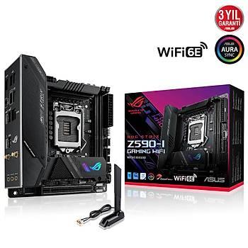 Asus Rog Strix Z590-I Gaming Wifi Intel LGA1200 11.Nesil 64GB DDR4 5133MHz M.2 Hdmi mITX Anakart
