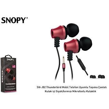 Snopy SN-J02 Thunderbird Mobil Telefon Uyumlu  Kulak içi Siyah-kýrmýzý Mikrofonlu Kulaklýk