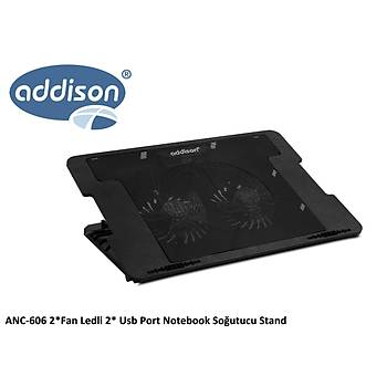 Addison ANC-606 Çift Fanlý Ledli 2-USB Portlu Kademeli Notebook Soðutucu