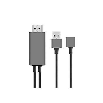 Hytech HY-XO51 Siyah-Gri USB-F to HDMI 1m Mobil Telefon Uyumlu Kablo