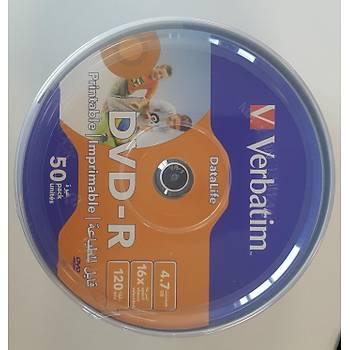 Verbatim DVD-R 50LÝ Printable DataLife 4,7GB 16X 120Min (069725-02)