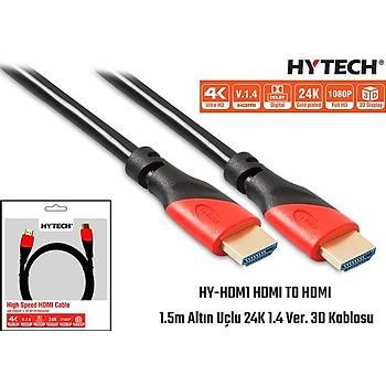 Hytech HY-HDM1 HDMI TO HDMI 1.5m Altýn Uçlu 24K 1.4 Ver. 3D Kablosu
