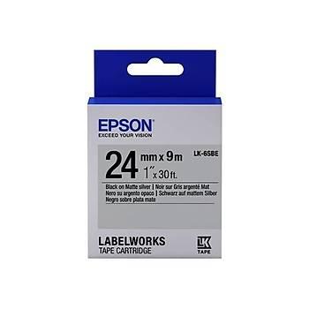 Epson LK-6SBE Mat Siyah Üzeri Mat Gümüþ 24MM 9Metre Etiket
