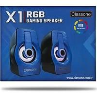 Classone X1 Black Rgb Iþýklý  Gaming  Usb Hoparlör Mavi
