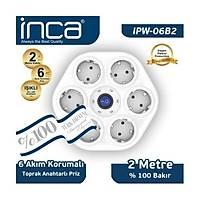 Inca 6'lý Oval Akým Korumalý Iþýklý 2M Beyaz Priz (IPW-06B2)