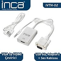 Inca VGA To HDMI Çevirici + USB Güç Adaptörü + Ses Kablosu (HDMI Diþi VGA Erkek ) IVTH-02