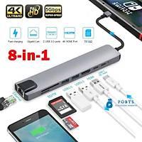 Bvlx 8 in 1 4K Type C USB 3.0 Hub HDMI RJ45 SDTF Adaptörü