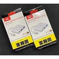 3'in 1 Type-C to Hdmi 4K USB 3.0 Çevirici Dönüþtürücü Adaptör