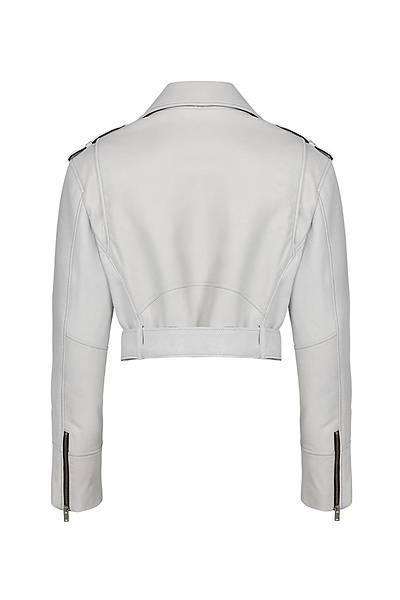 White Deri Ýþlemeli Ceket