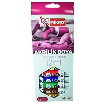 Mikro Ab 12 Akrilik Boya 12li 12ML