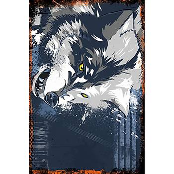 Wolf Retro Ahþap Poster 30x20