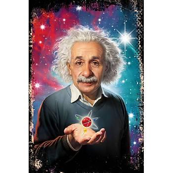 Albert Einstein Retro Ahþap Poster 30x20