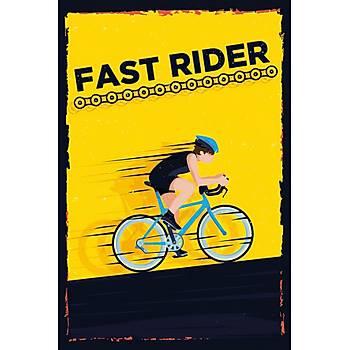 Fast Rider Retro Ahþap Poster 30x20